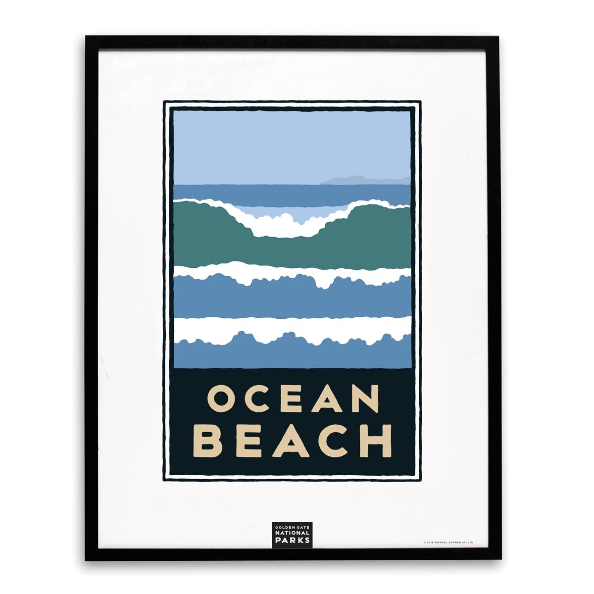 Framed Schwab Ocean Beach Print