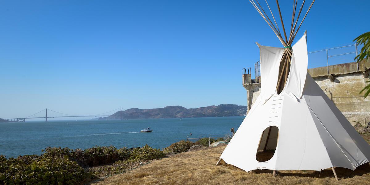 Tipi on Alcatraz with Golden Gate Bridge in background