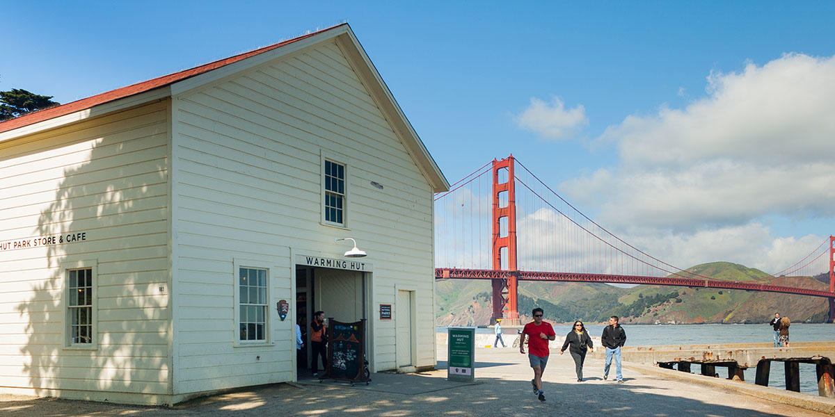 Visitors to the Warming Hut at Crissy Field are seen in a file photo.