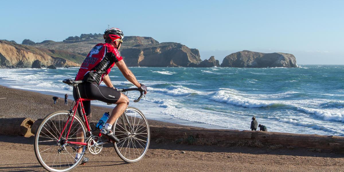 Cycling near Rodeo Beach