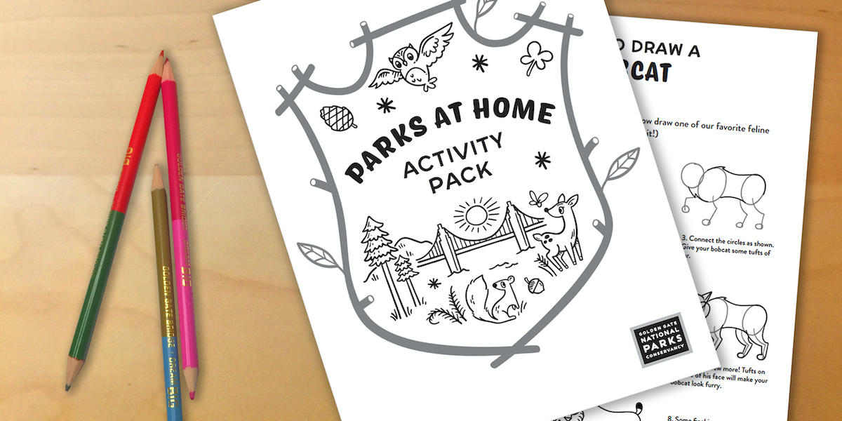 """Colored pencils next to a piece of paper titled """"Parks at Home: Activity Pack"""""""