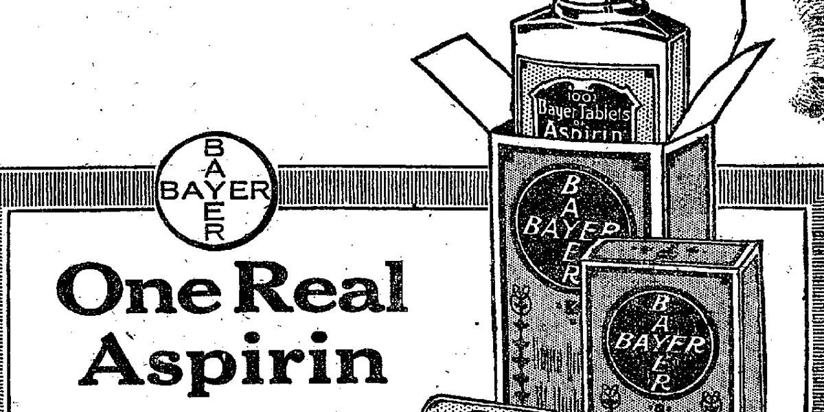 One of the first advertisements for Bayer Aspirin aimed at American consumers, just before the U.S. patent for aspirin was to expire.