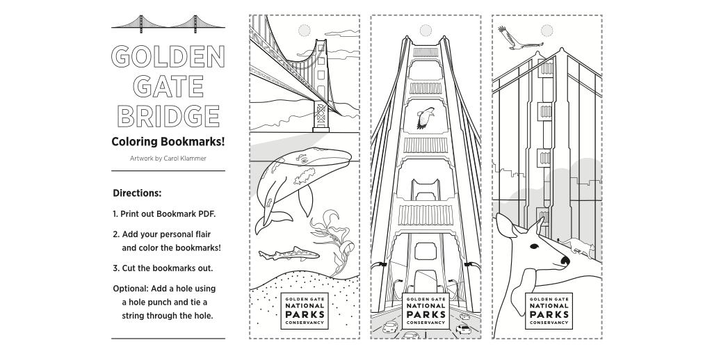 Golden Gate Bridge Coloring Bookmarks