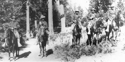 Soldiers of the 24th Infantry on mounted patrol in Yosemite National Park, c. 1899.