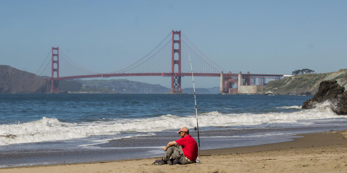 A fisherman on China Beach