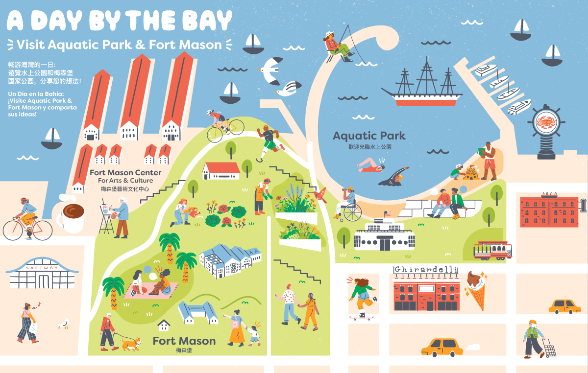Graphical of Fort Mason and the Aquatic Park in San Francisco