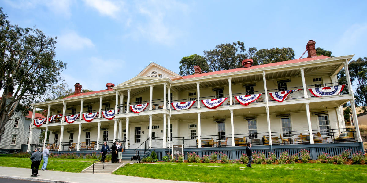One of the main buildings dolled up for a special event