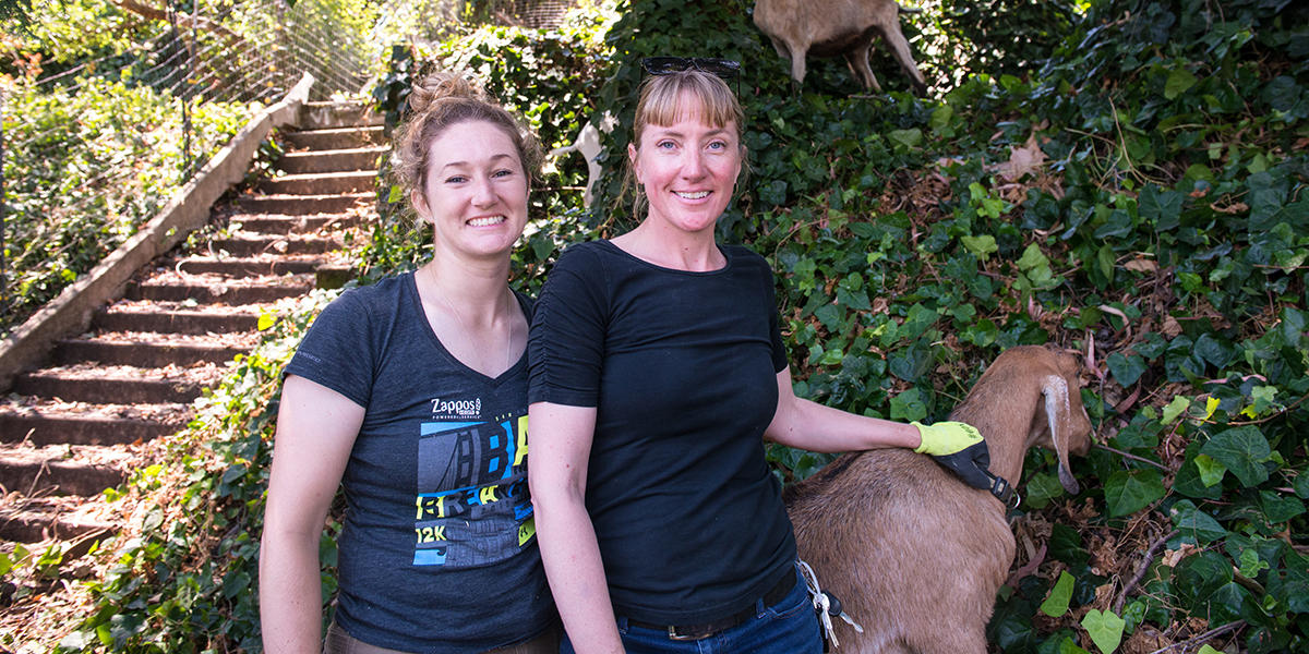 City Grazing General Manager Genevieve Church and Senior Goatherd Jessica Kipp