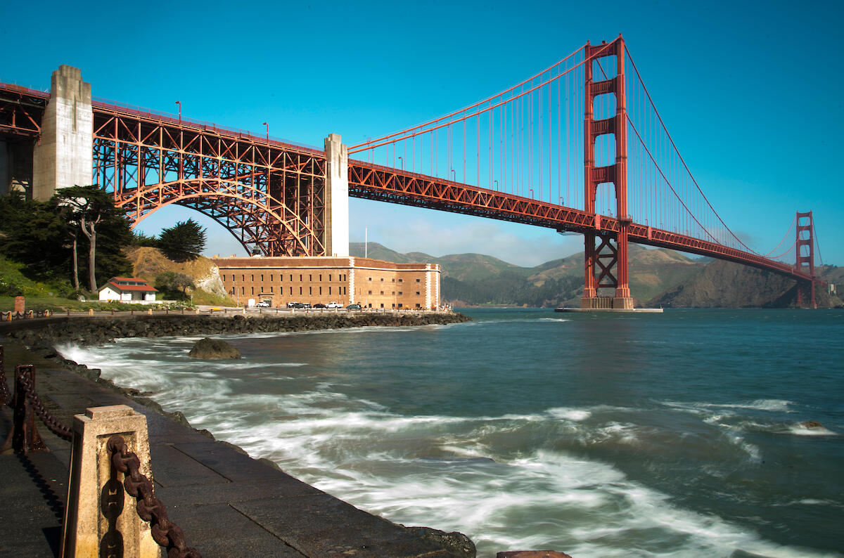 Span of the Golden Gate Bridge over the entrance to the Bay.