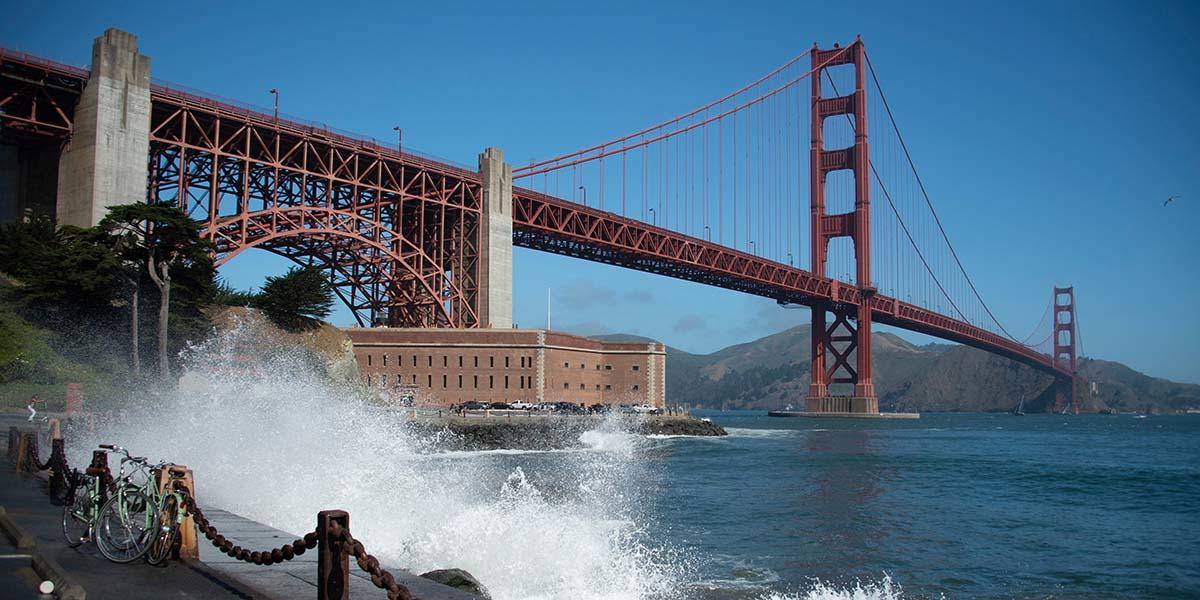 Golden Gate Bridge and Fort Point.