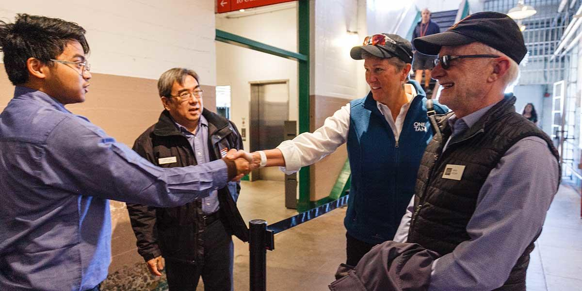Incoming Golden Gate National Parks Conservancy President & CEO Christine Lehnertz meets with staff on Alcatraz Island.