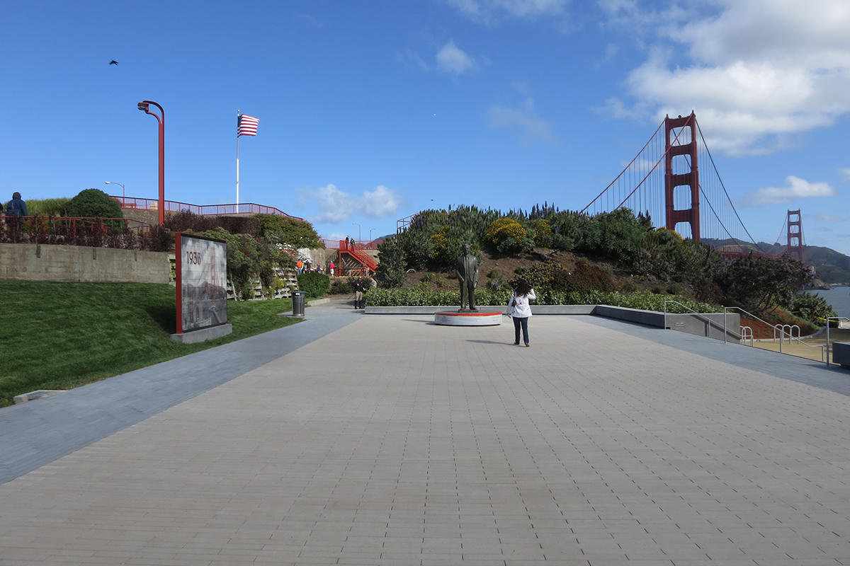 Statue of Joseph Strauss in the Golden Gate Bridge plaza