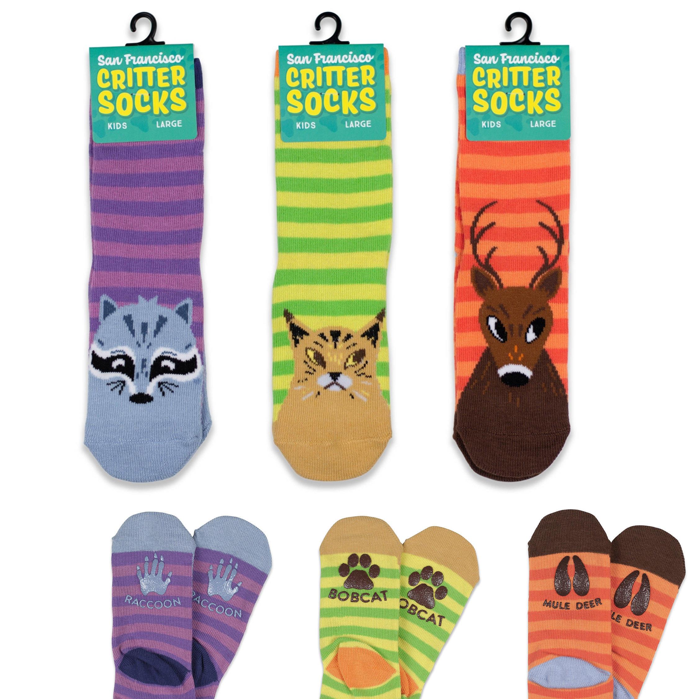 San Francisco Critter Socks, from left: raccoon, bobcat, mule deer.