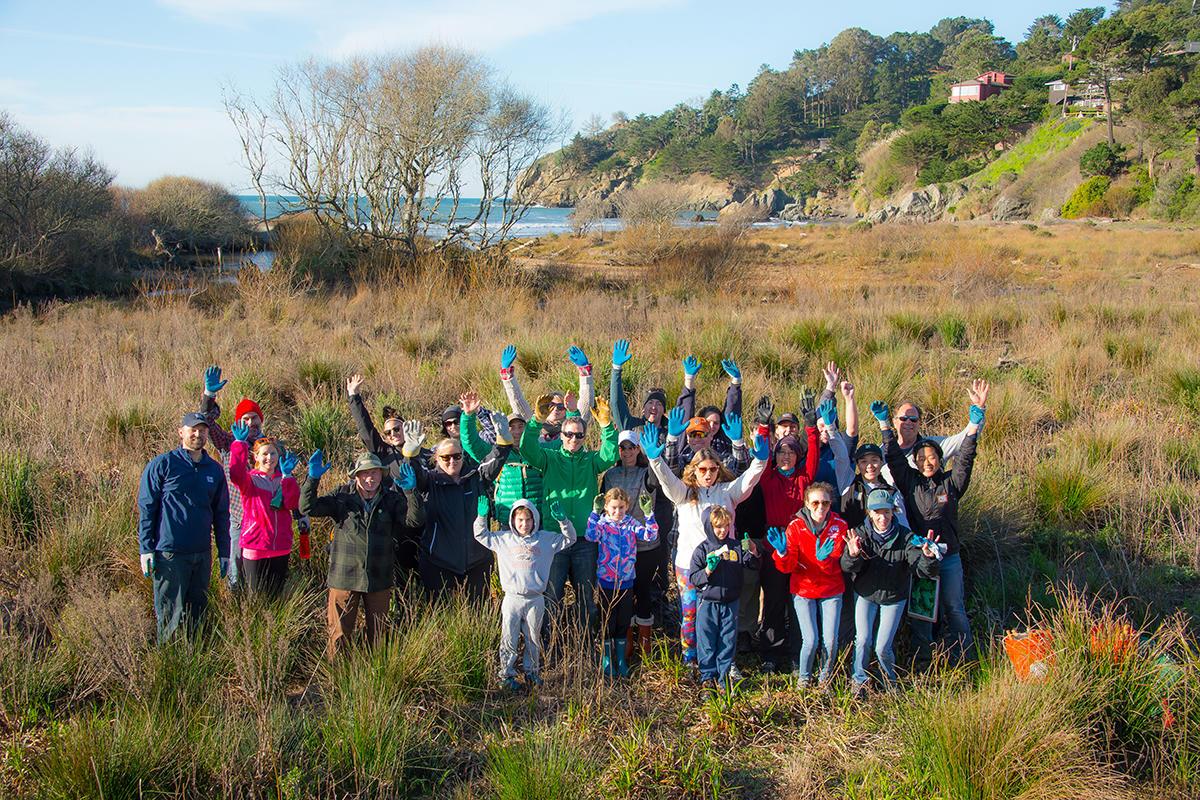 Volunteer group at Muir Beach