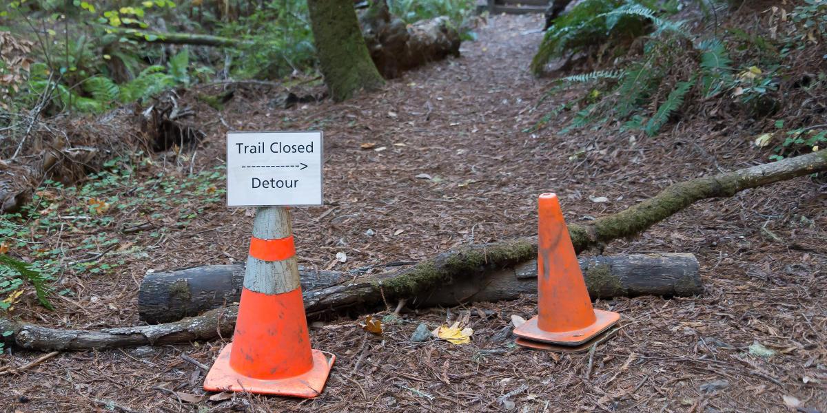 Muir Woods trail closure signage