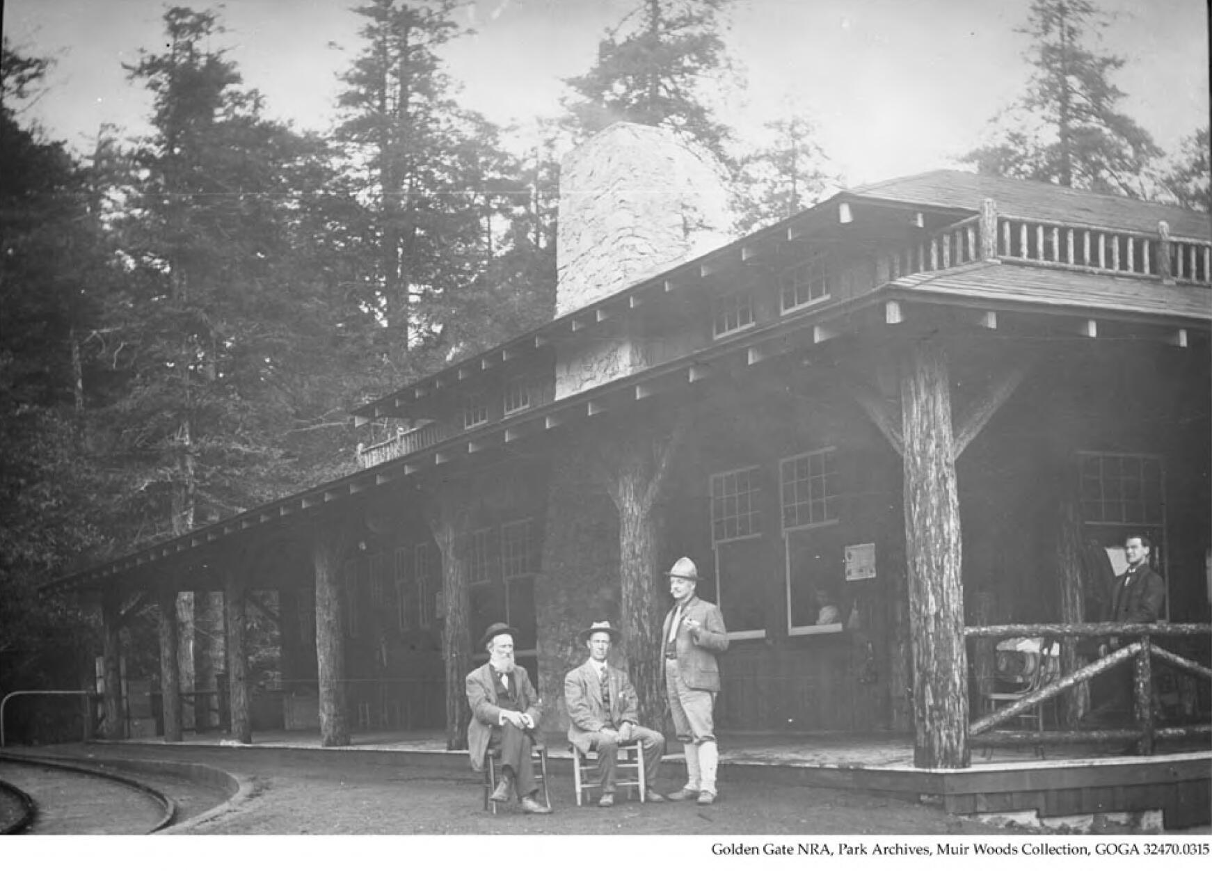 John Muir, William Kent, and J.H. Cutter at Muir Inn on Mt. Tamalpais