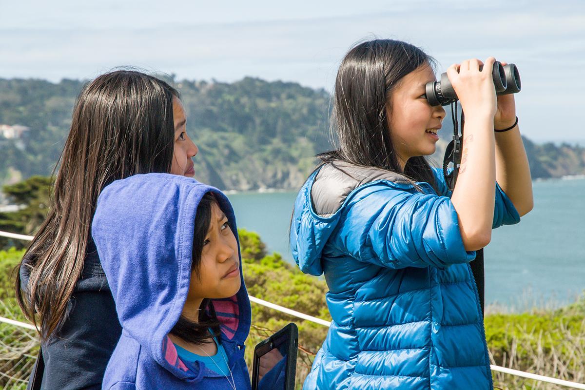 girls birdwatching