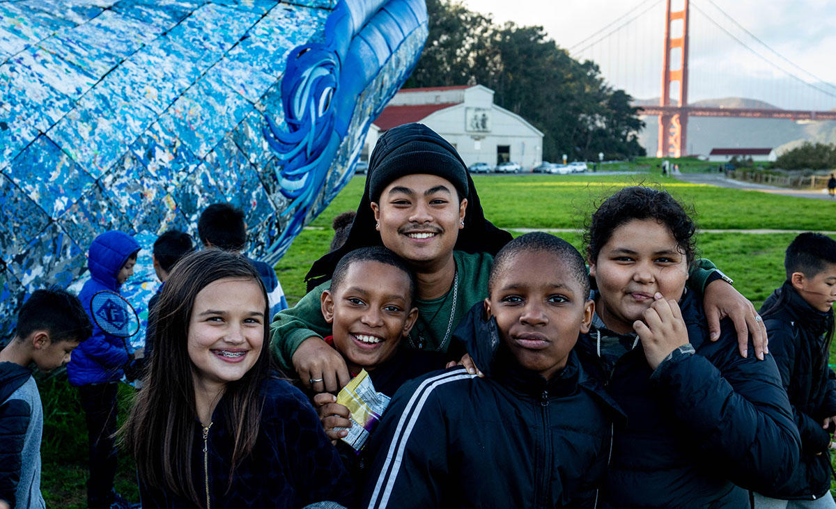 Up on Top program participants visit the Monterey Bay Aquarium's blue whale art installation at Crissy Field in November 2018.