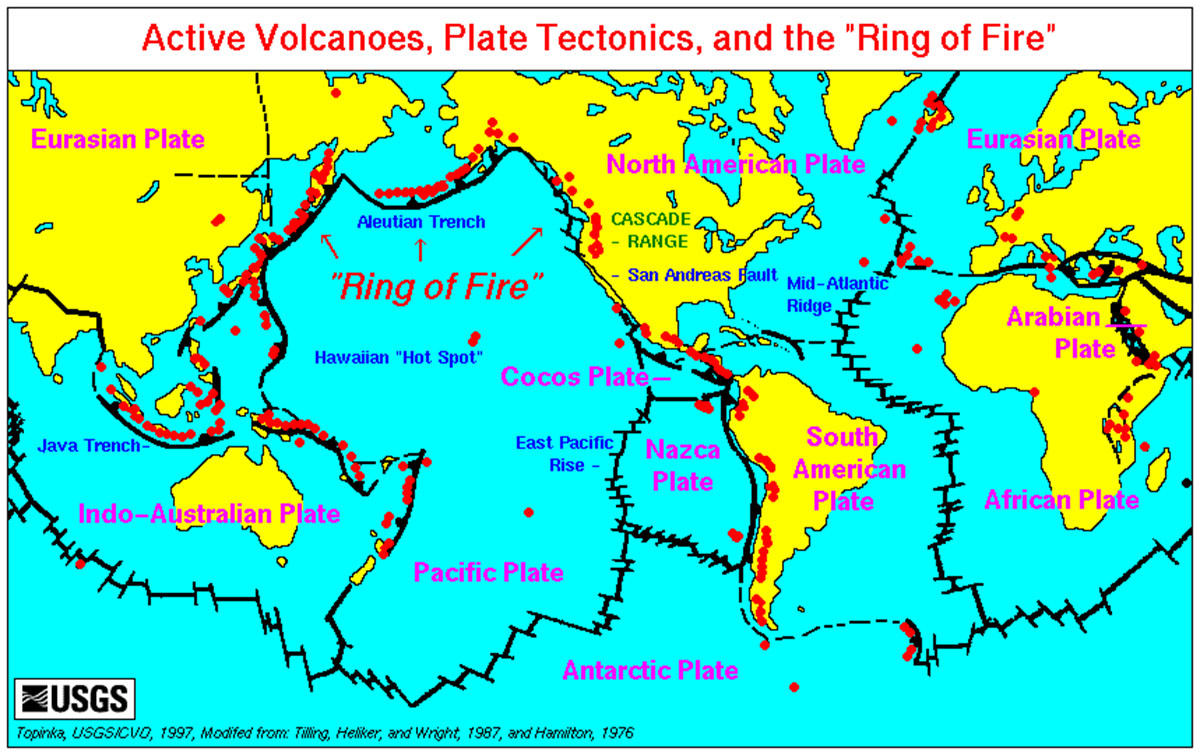 "Plate tectonics, active volcanoes and the ""Ring of Fire."""