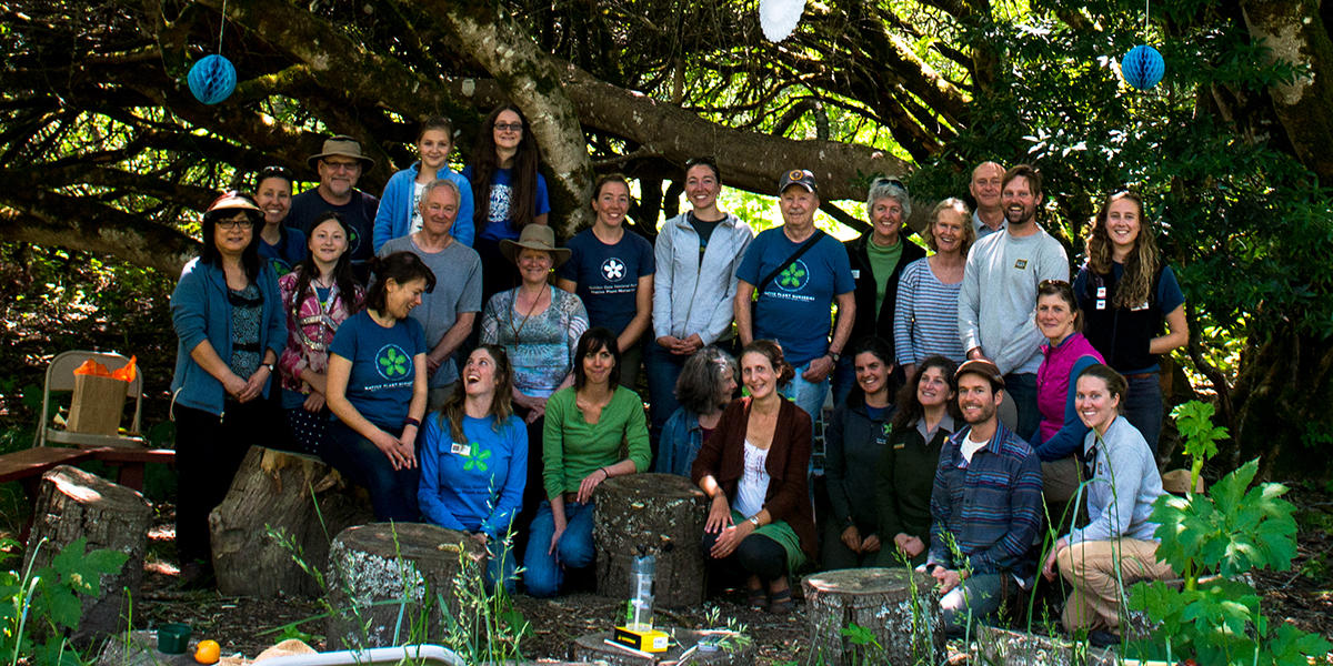 Past and present volunteers at the Redwood Creek Nursery closing celebration.