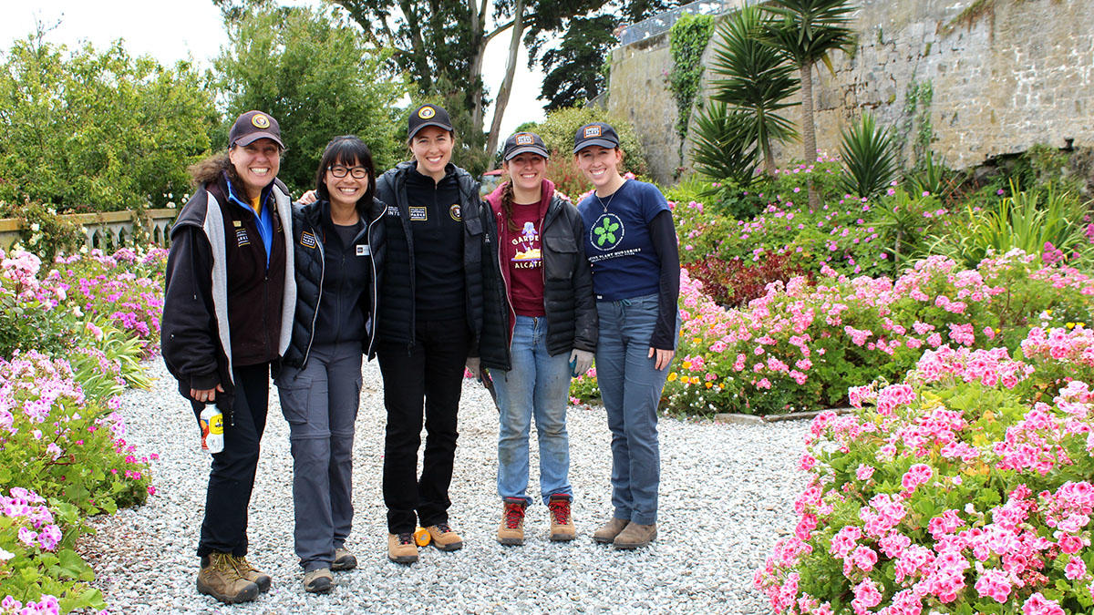 Interns explore the gardens of Alcatraz
