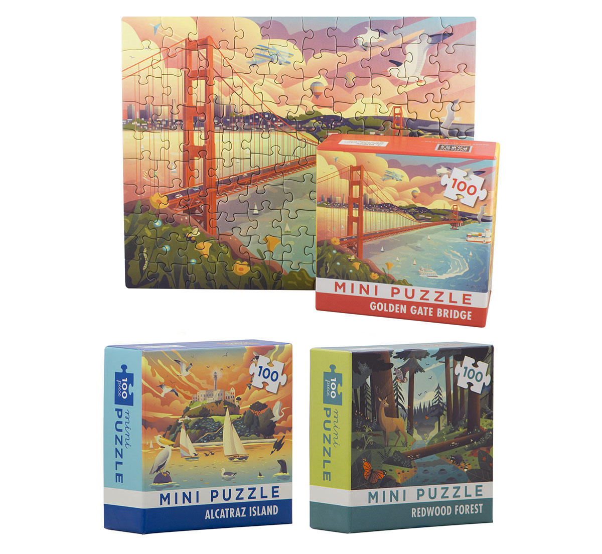Mini puzzles featuring San Francisco landmarks, Alcatraz, and a redwood forest.