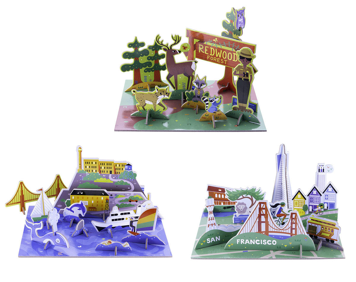Pop-Out and Play sets featuring a redwood forest and San Francisco landmarks.