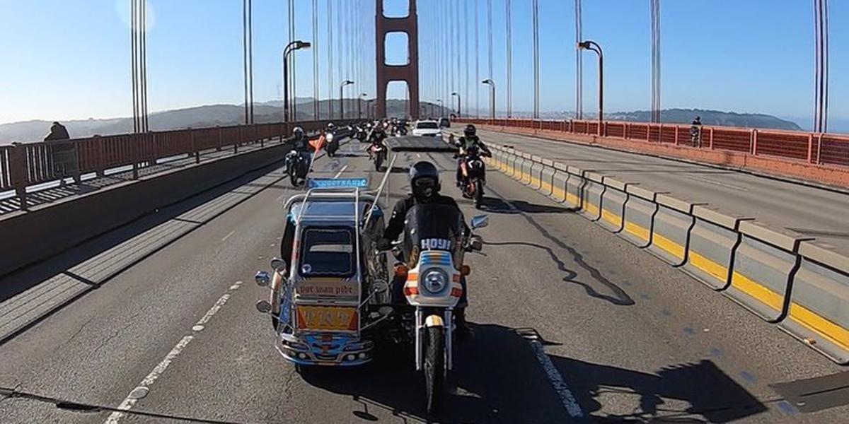 TNT Traysikel crossing Golden Gate Bridge