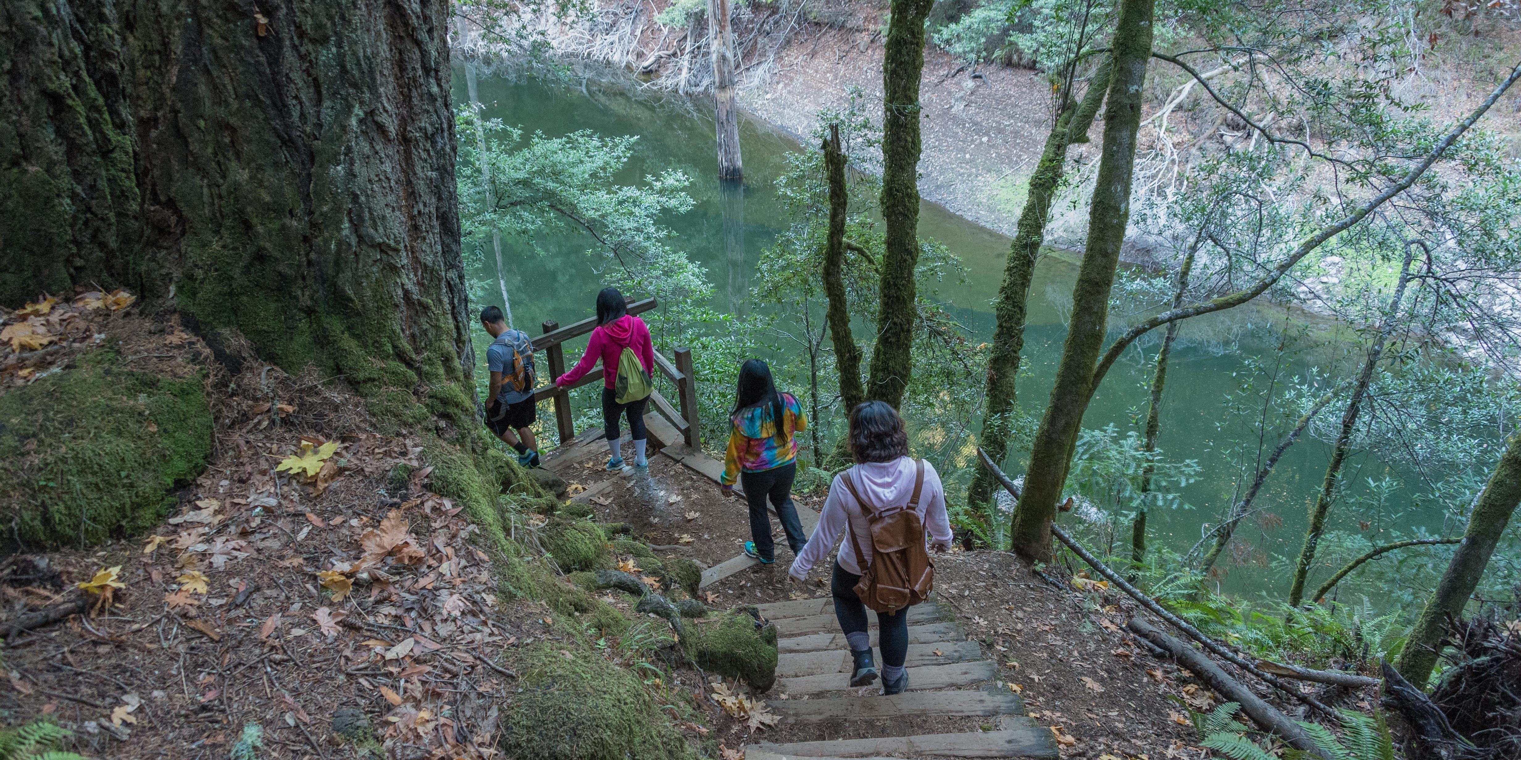 Visitors explore the Cataract Trail