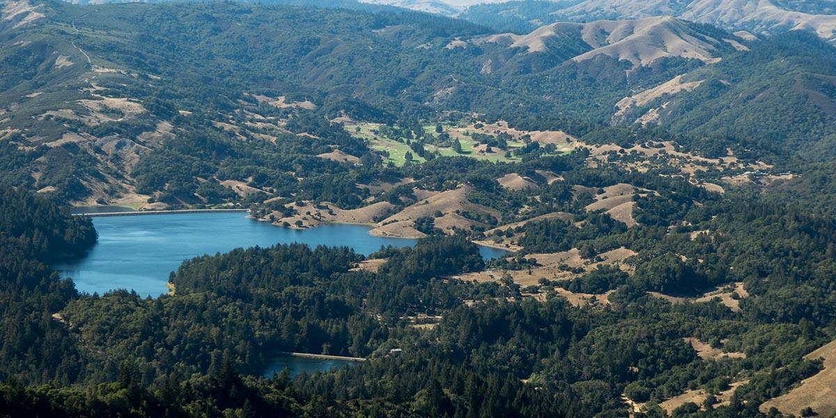 Bird's-eye view of Lake Lagunitas in Marin County.
