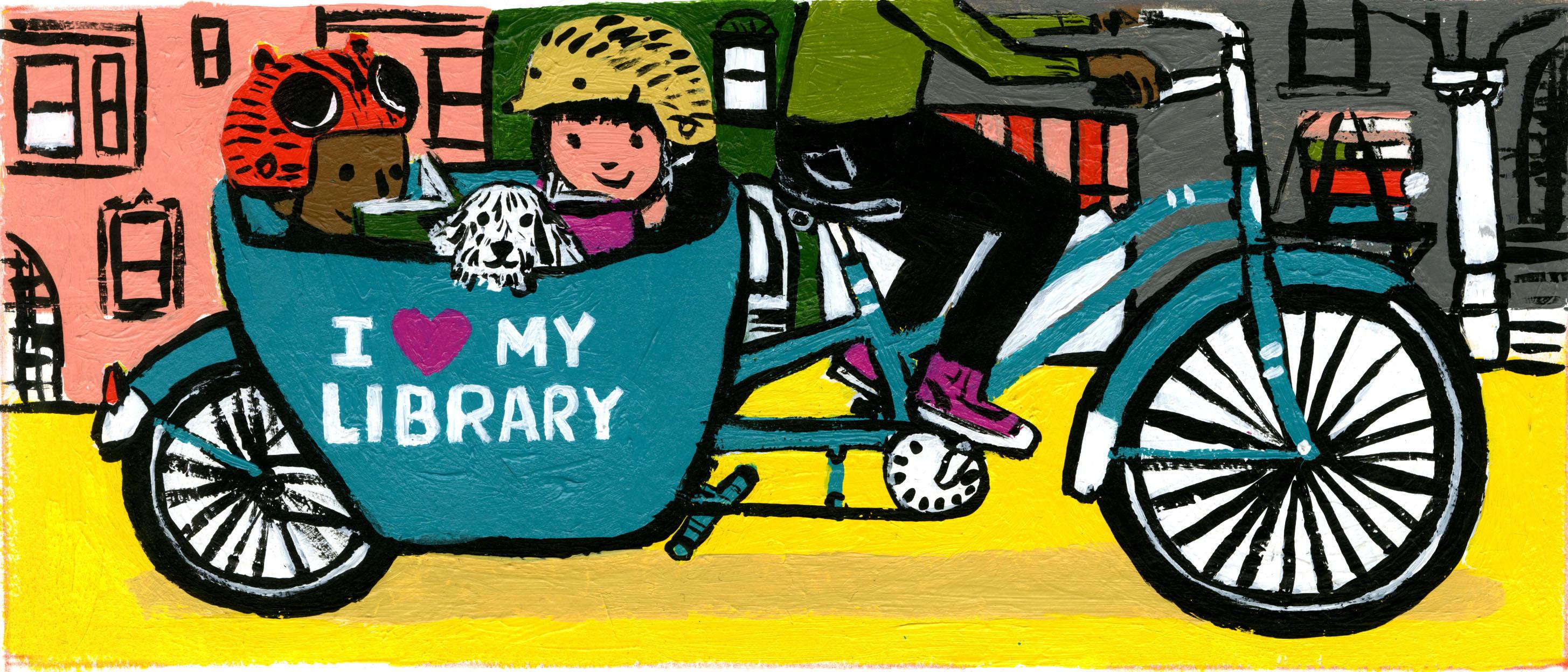 Illustration of family on bike by Zachariah OHora