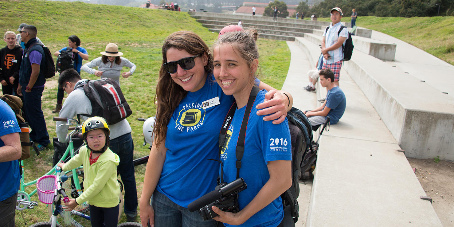 Intern Hailey Gavin (right) at the finale of Packing the Parks