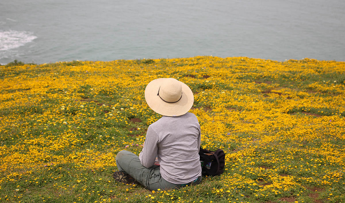Taking a break at Mori Point.