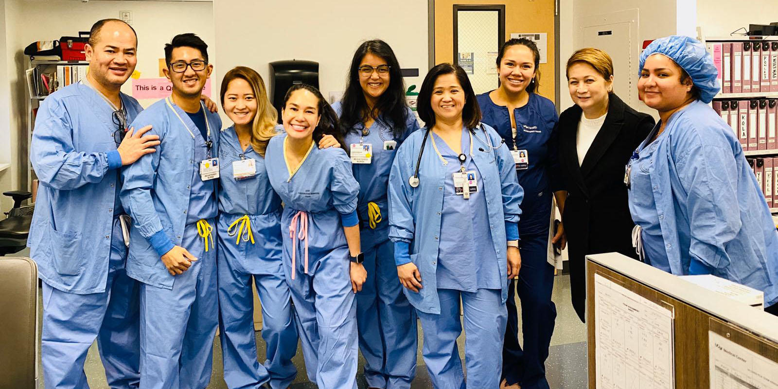 Lana Salvador (center) with her fellow healthcare workers in San Francisco.
