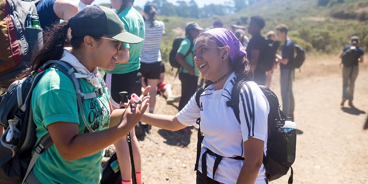 Youth spend time in nature hiking