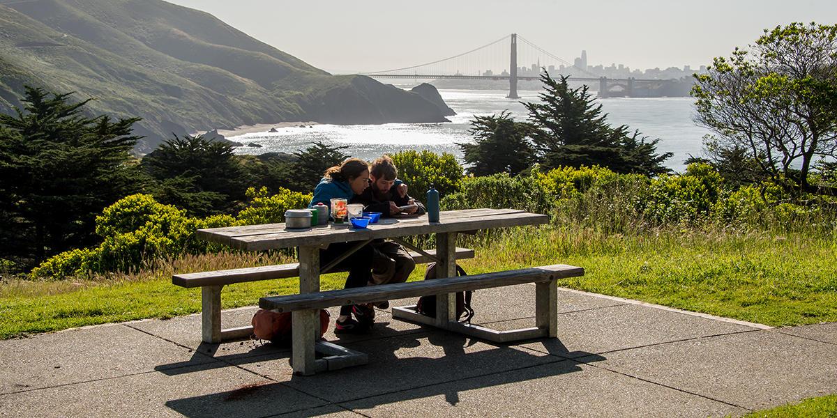 Visitors enjoy a picnic at the Marin Headlands.