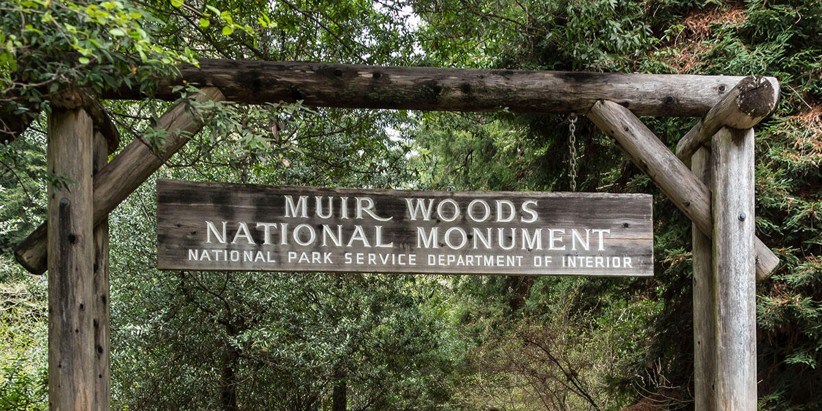 The main entrance to Muir Woods National Monument.