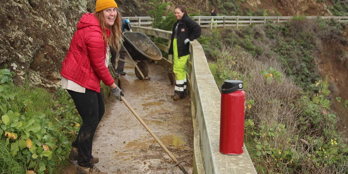 Women's Trail Day interns and volunteers worked on the trail to Point Bonita.