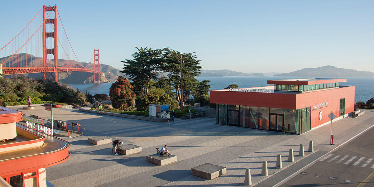 Golden Gate Bridge and the Welcome Center.
