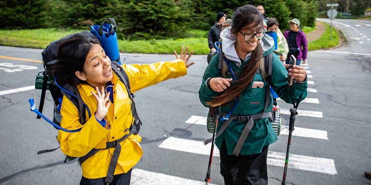 Youth in the Urban Trailblazers program on a hike through the Presidio.