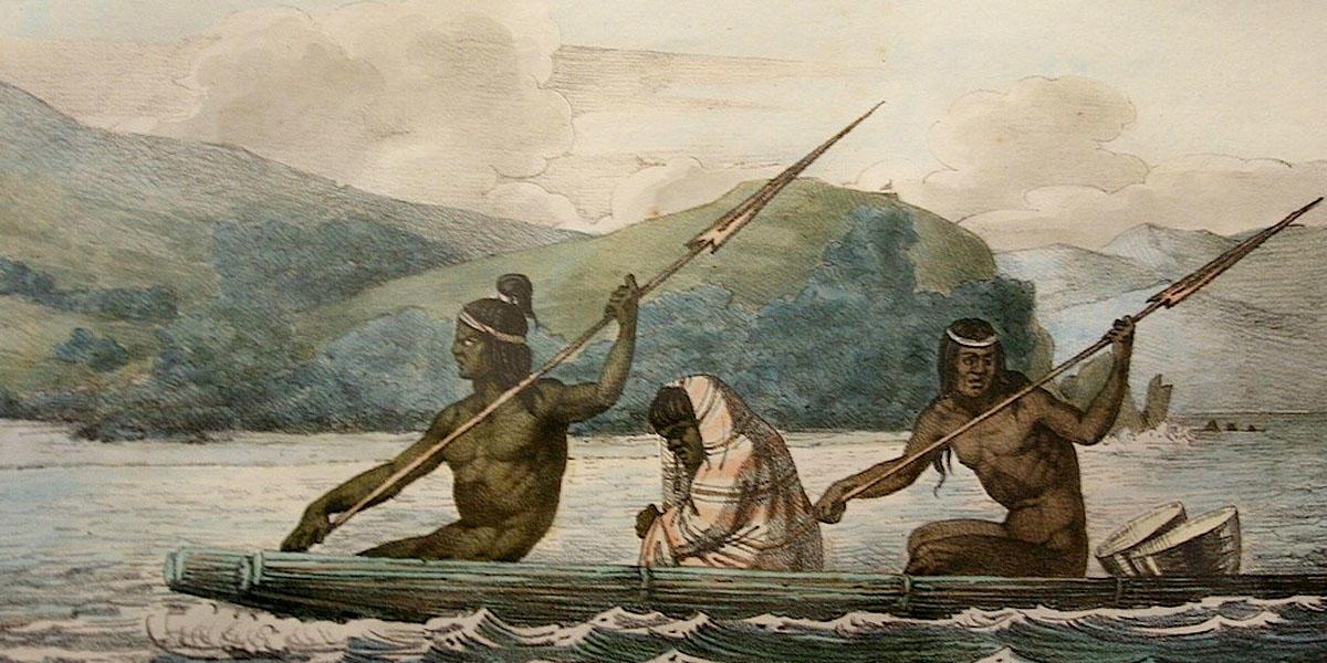 Ramaytush Ohlone in a tule boat in the San Francisco Bay, 1816.