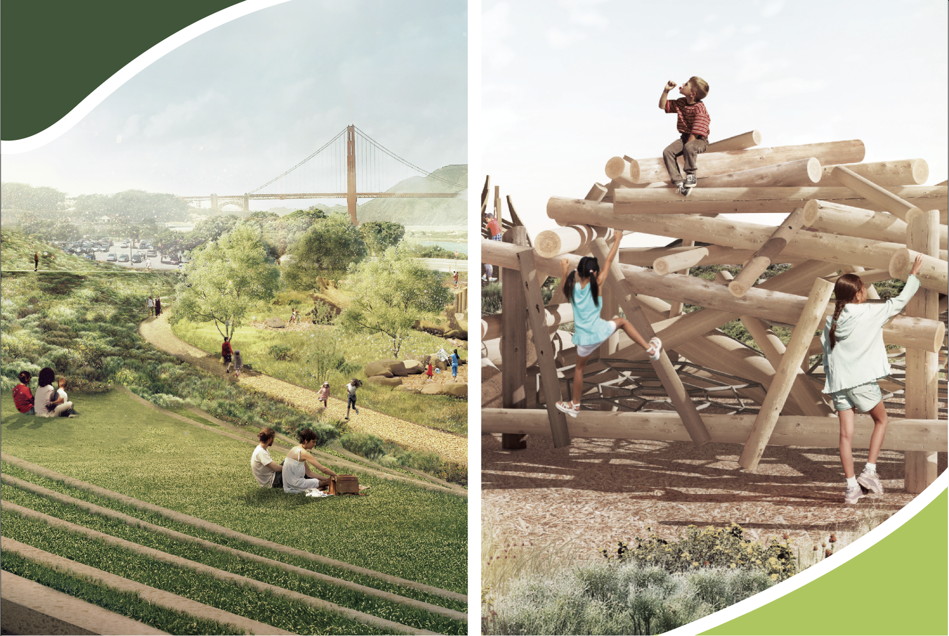 A graphic of a green space and children playing throughout it. The Golden Gate Bridge is visible in the background.