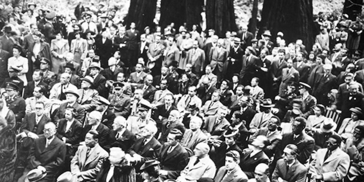 Historic image of dignitaries at Muir Woods to remember FDR.
