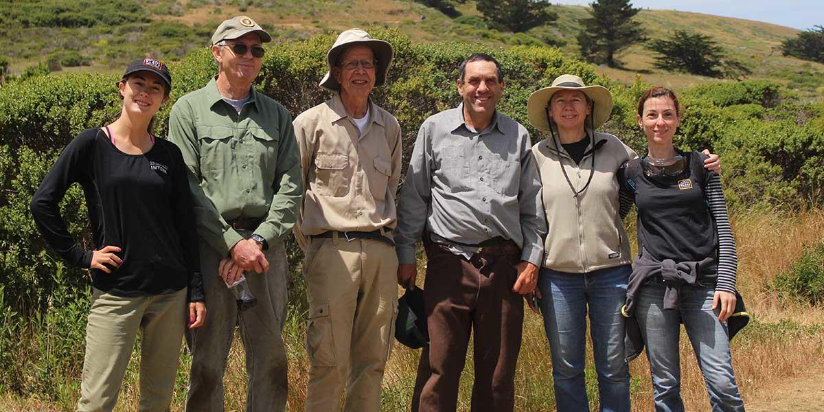 Volunteers and interns with the San Mateo Park Stewardship team.