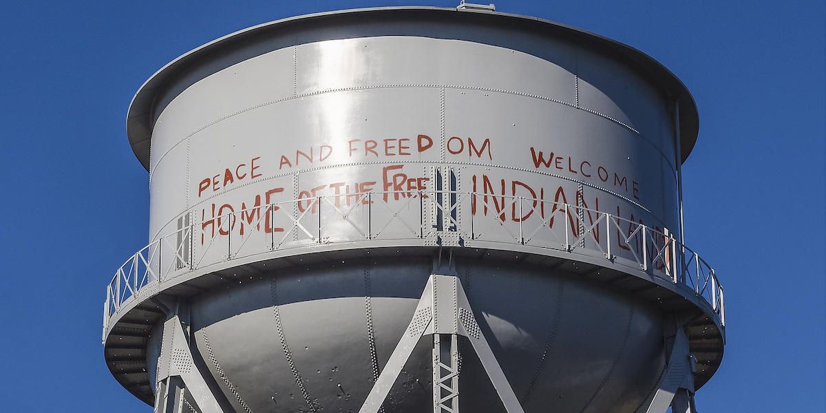 The Alcatraz water tower is a 250,000 gallon elevated steel water tank designed in 1939 by the Chicago Bridge and Iron Works.