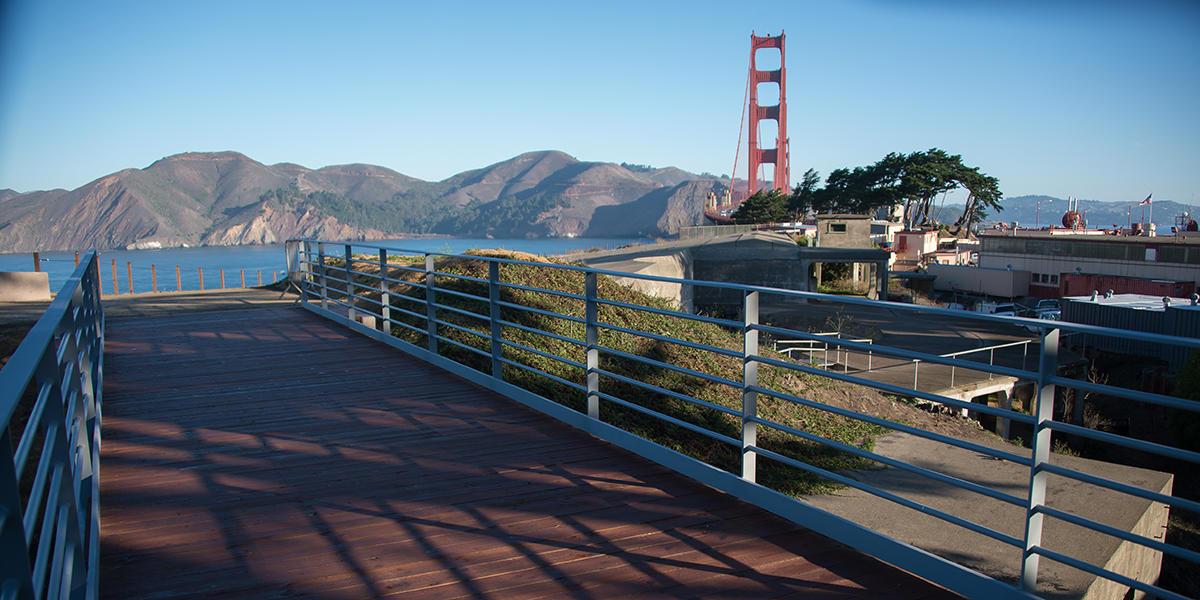 Bridge over historic batteries