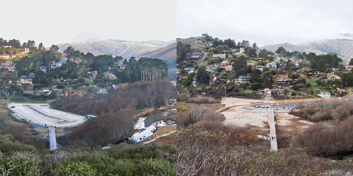 Redwood Creek before and after
