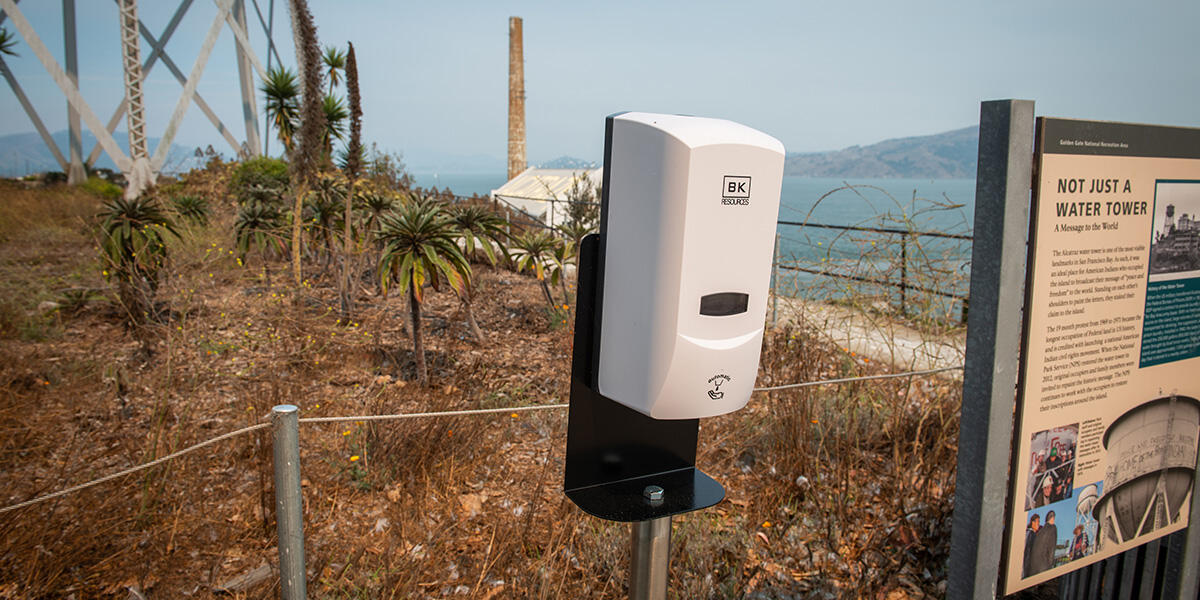 Hand sanitizer stations were in place throughout Alcatraz Island in fall 2020.