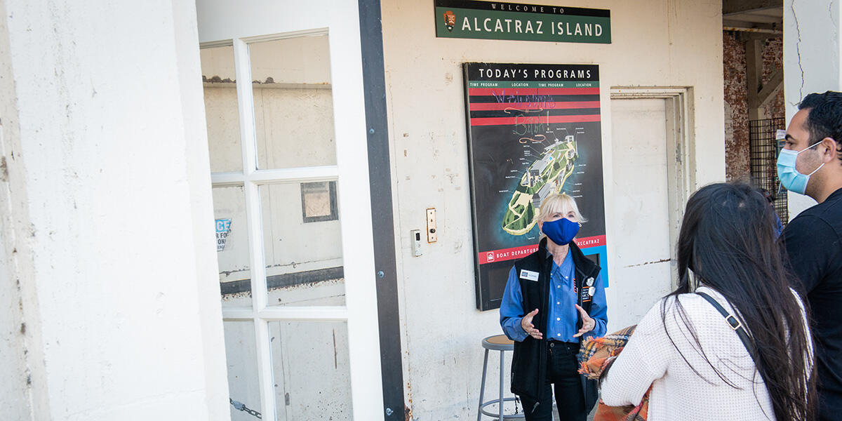 Greeting Alcatraz Island visitors from a distance in fall 2020.