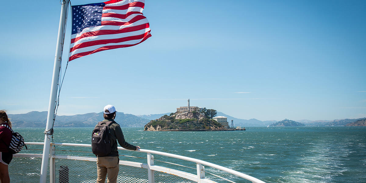 The view from the Alcatraz Cruises boat to Alcatraz Island.